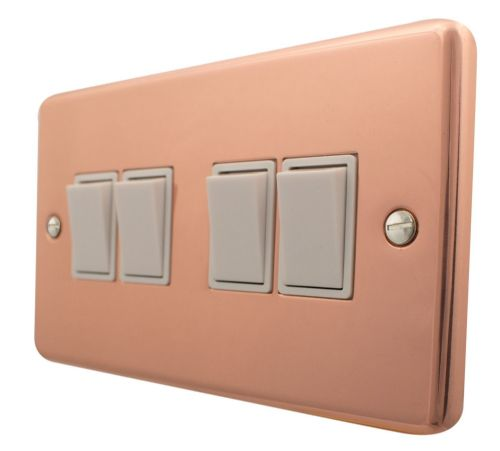 G&H CBC4W Standard Plate Bright Copper 4 Gang 1 or 2 Way Rocker Light Switch